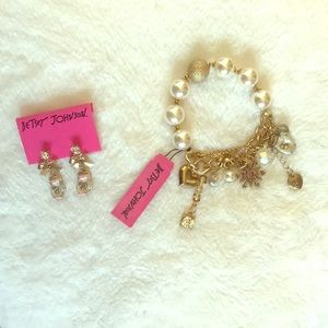 Betsey Johnson earrings and bracelet combo